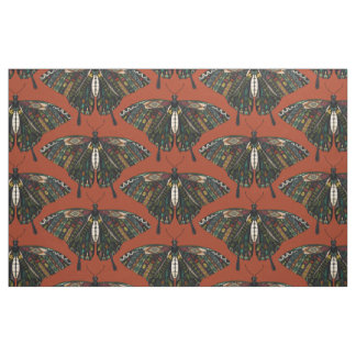 swallowtail butterfly terracotta fabric