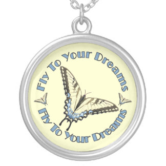 Swallowtail Butterfy Round Pendant Necklace