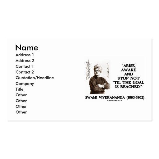 Swami Vivekananda Arise Awake Stop Not Til Goal Is Business Cards