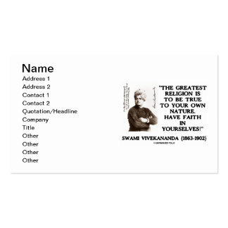 Swami Vivekananda Greatest Religion True To Own Business Card Template