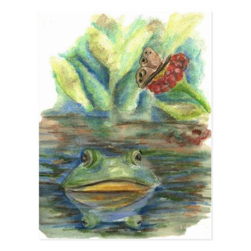 Swamp Ihabitant - wtaercolor pencil Postcards