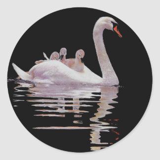 SWAN AND BROOD STICKER