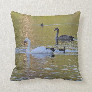Swan and cygnet cushion
