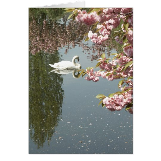 swan and pink blossoms card