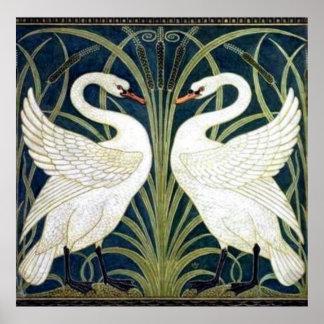 Swan and Rush and Iris wallpaper Print