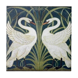 Swan and Rush and Iris wallpaper Tile