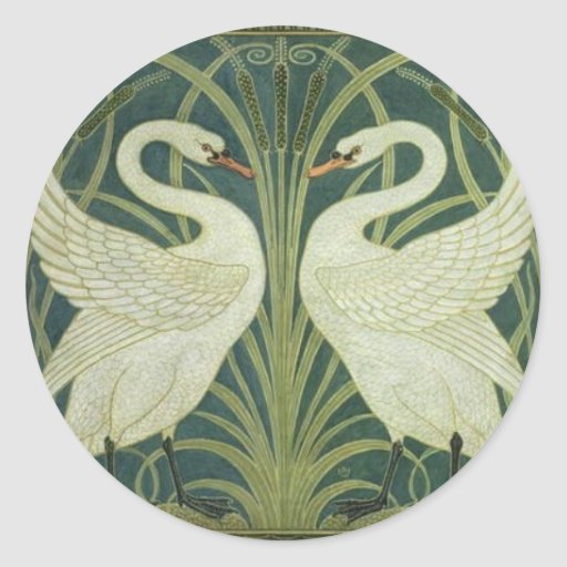 Swan and Rush Art Nouveau Sticker