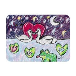 swan art rectangular photo magnet