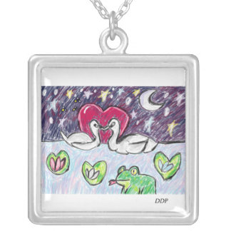 swan art silver plated necklace