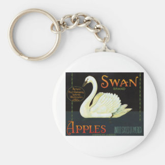 Swan Brand Apples Basic Round Button Key Ring