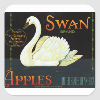 Swan Brand Apples Square Stickers