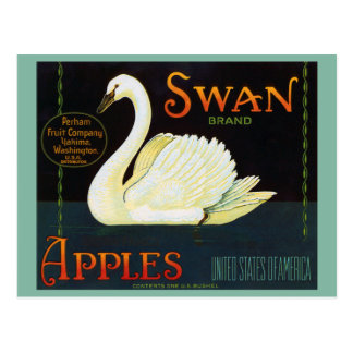 Swan Brand Apples Washington State Crate Label Postcard