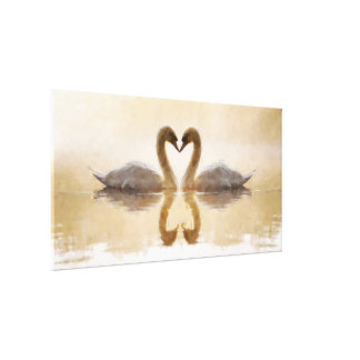 Swan Couple On Lake Watercolor Painting Canvas Print