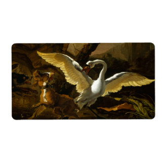 Swan Enraged by Dogs painting by Abraham Hondius
