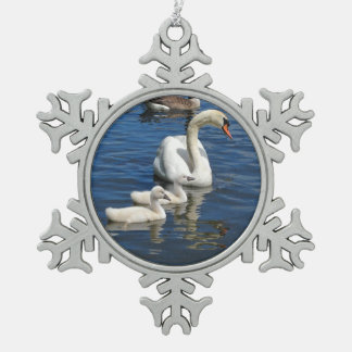 Swan Family ~ Pewter ornament