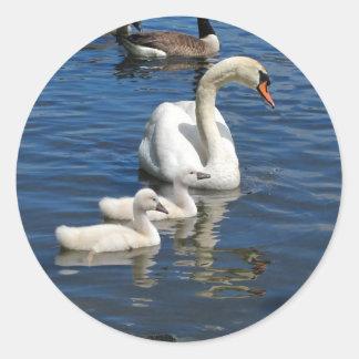 Swan Family ~ sticker Round Sticker