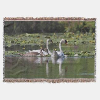 Swan Family Throw Blanket