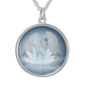 Swan Fantasy Art & Lotus Medium Sterling Silver Personalized Necklace