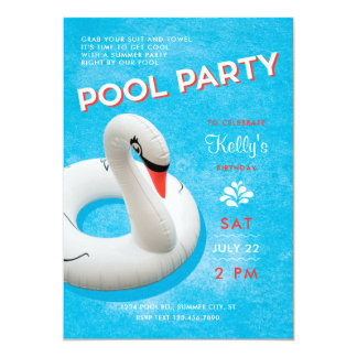 Swan Float Pool Party Invitation