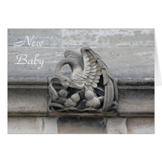 Swan gargoyle new baby card