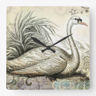 Swan Graphic Square Wall Clock