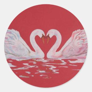 Swan Heart Classic Round Sticker