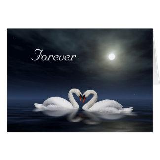 Swan heart greeting card