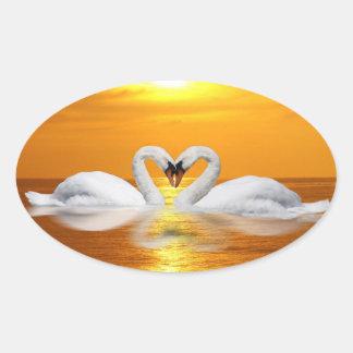 Swan heart oval sticker