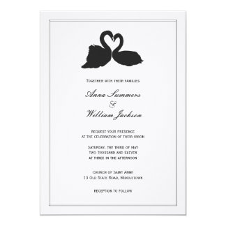 Swan Heart Wedding Invitation