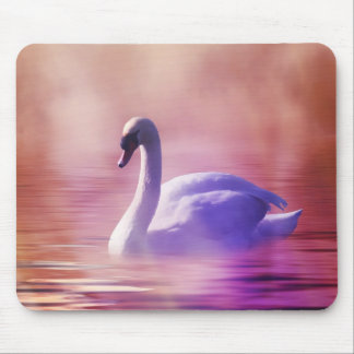 Swan in colorful moonlight mouse pad