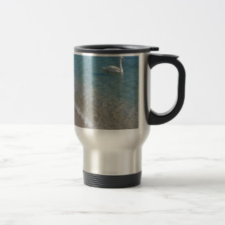 Swan in crystal clear shallow sea water stainless steel travel mug