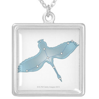 Swan in Flight Silver Plated Necklace