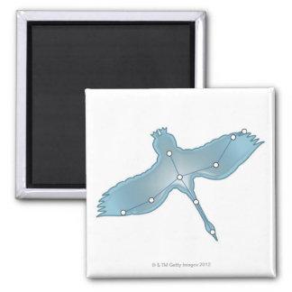 Swan in Flight Square Magnet