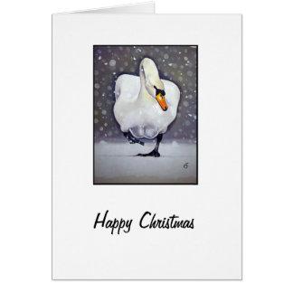 Swan in Snow Greeting Card