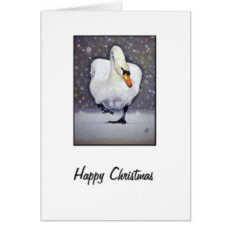 Swan in Snow Greeting Card