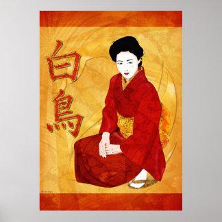 Swan Japanese Geisha Folk Art Poster