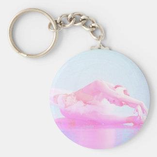 Swan Lake Basic Round Button Key Ring