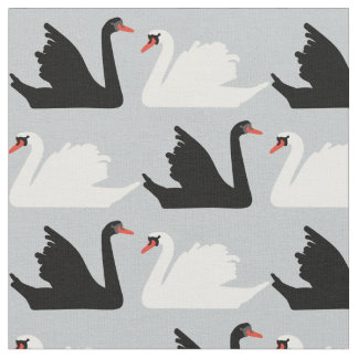 Swan Lake Black and White swan Fabric