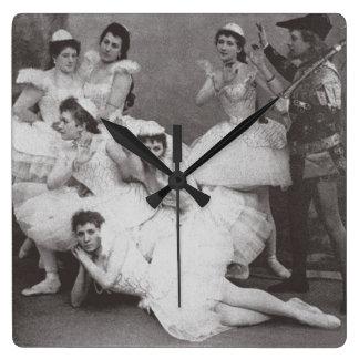 Swan Lake, Mariinsky Theatre, 1895 (b/w photo) Square Wall Clock