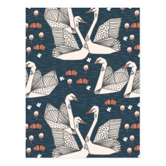Swan Lily Pond Geo Dark Blue Navy / Andrea Lauren Postcard