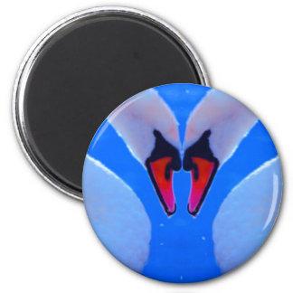 Swan Love, Romantic Heart Shaped Necks 6 Cm Round Magnet