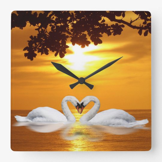 Swan love square wall clock