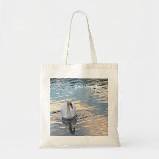 Swan on Blue Water Tote Bag