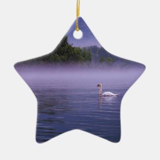 Swan on lake christmas ornament