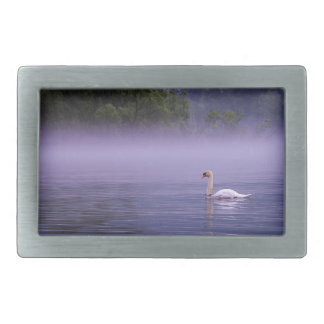 Swan on lake rectangular belt buckles
