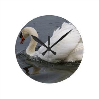 swan on lake round clock