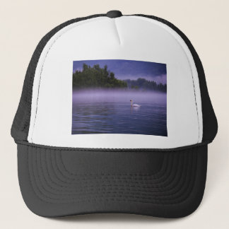 Swan on lake trucker hat