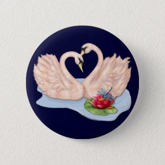 Swan Pair 6 Cm Round Badge