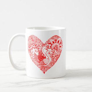 Swan Pair in Red Heart Coffee Mug