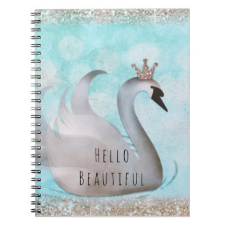 Swan Princess Faux Gold Glitter Chic Fairy Tale Notebook